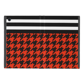 Crimson Houndstooth w/ Stripes 2 Cover For iPad Mini