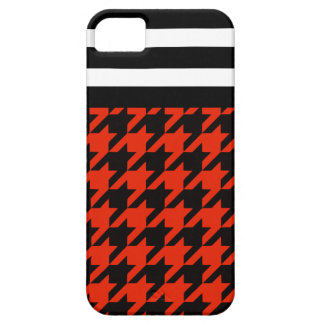 Crimson Houndstooth w/ Stripes 2 iPhone 5 Cases