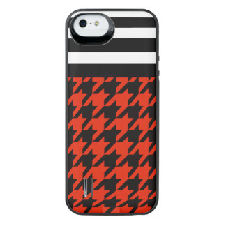Crimson Houndstooth w/ Stripes 2 iPhone SE/5/5s Battery Case