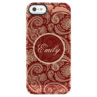 Crimson Red And Beige Creme Vintage Paisley Clear iPhone SE/5/5s Case