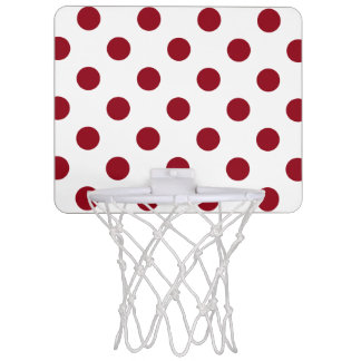 Crimson Red Polka Dots Circles Mini Basketball Hoop