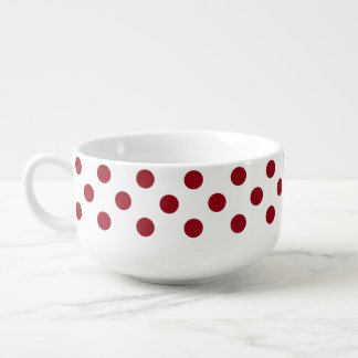 Crimson Red Polka Dots Circles Soup Bowl With Handle