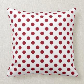 Crimson Red Polka Dots Circles Throw Pillow