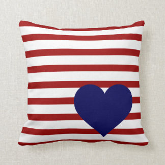 Crimson Red Stripes on White w/ Navy Heart Cushion