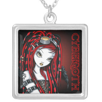 """Crimson"" Red Tattoo Cybergoth Angel Necklace"