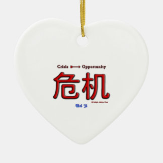 Crisis Equals Opportunity Ceramic Heart Decoration