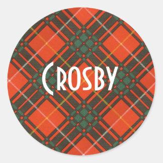 Crosby clan Plaid Scottish tartan Classic Round Sticker