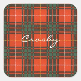 Crosby clan Plaid Scottish tartan Square Sticker