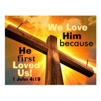 Cross and Bible Verse 1 John 4:19 Postcard