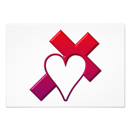 Cross and heart #1 ( 3-D Red / purple ) Personalized Invitation