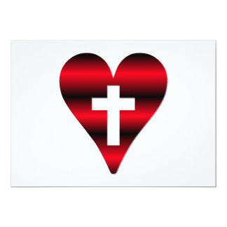 Cross and heart #3 ( Cross inside red heart ) 13 Cm X 18 Cm Invitation Card