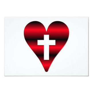 Cross and heart #3 ( Cross inside red heart ) 9 Cm X 13 Cm Invitation Card