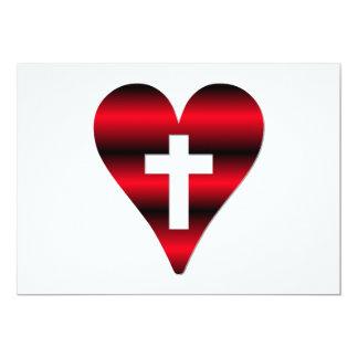 Cross and heart #3 ( Cross inside red heart ) Custom Invitation