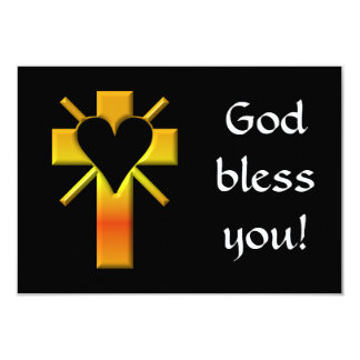 Cross and heart #4 (cross with heart & light rays) 9 cm x 13 cm invitation card