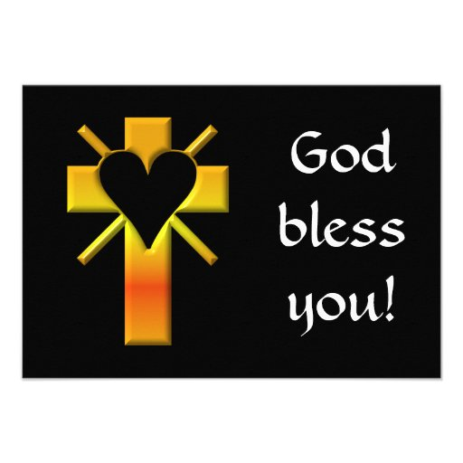 Cross and heart #4 (cross with heart & light rays) invitation