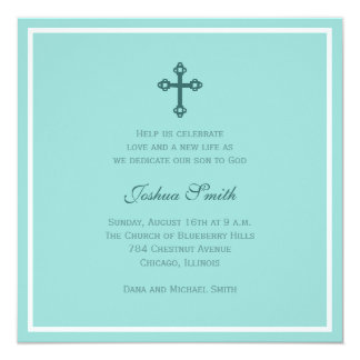 Cross Baptism (Blue) 13 Cm X 13 Cm Square Invitation Card