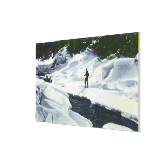 Cross-Country Skier Pauses by Mountain Brook Canvas Print