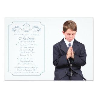 Cross Focus Blue Photo Religious Invitation