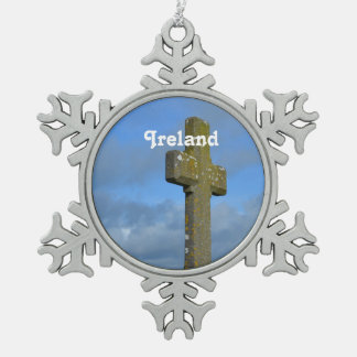Cross in Ireland Snowflake Pewter Christmas Ornament