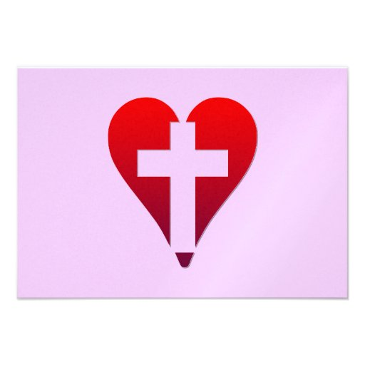 Cross inside red Heart Personalized Invitation