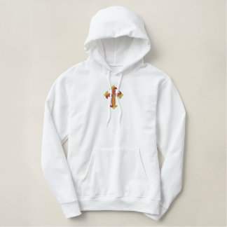 Cross multicolor embroidered hoodie