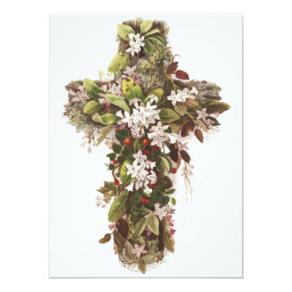 Cross of Flowers 14 Cm X 19 Cm Invitation Card