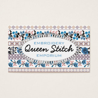72 embroidery stitch business cards and embroidery stitch business cross stitch pixel art embroidery flowers blue business card colourmoves Choice Image