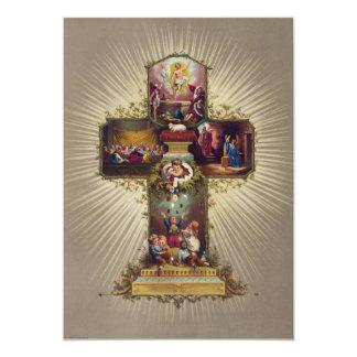 Cross with Biblical Scenes Children & Easter Eggs 13 Cm X 18 Cm Invitation Card