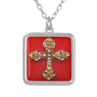 Cross with Jewels Pattern on Red Base Pendant