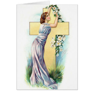 Cross With Lady And Flowers Greeting Card