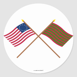 Crossed Betsy Ross and Ft Sackville Flags Classic Round Sticker