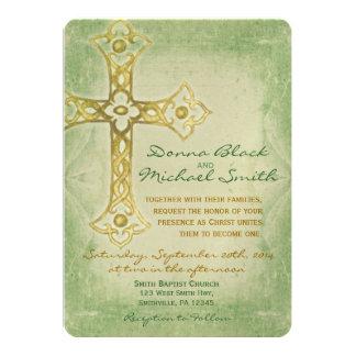 Crossed Corner Religious Wedding Invitations