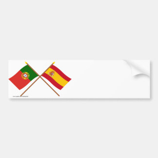 Crossed Flags of Portugal and Spain Bumper Sticker