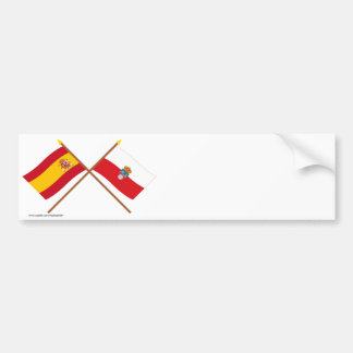 Crossed flags of Spain and Cantabria Bumper Sticker