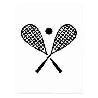 Crossed squash rackets postcard
