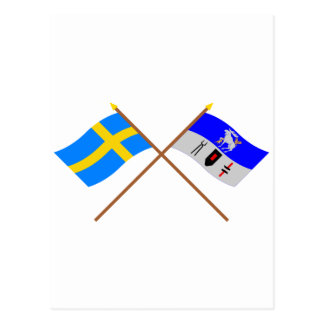 Crossed Sweden and Jämtlands län flags Postcard