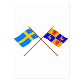 Crossed Sweden and Kalmar län flags Postcard
