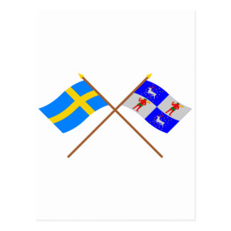 Crossed Sweden and Norrbottens län flags Postcard