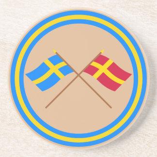 Crossed Sweden and Skåneland landskap flags Coaster