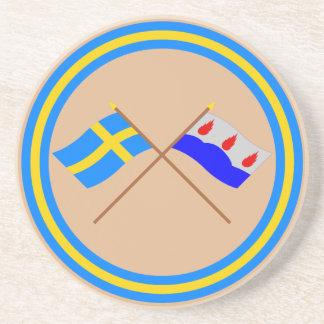 Crossed Sweden and Västmanlands län flags Coaster
