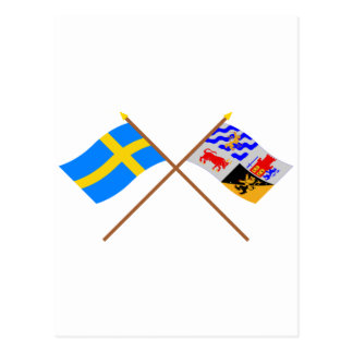 Crossed Sweden and Västra Götalands län flags Postcard