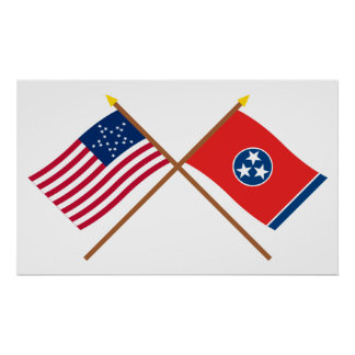 Crossed US 20-star and Tennessee State Flags Print