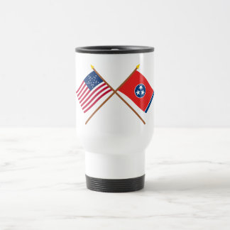 Crossed US 20-star and Tennessee State Flags Stainless Steel Travel Mug