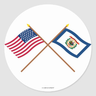 Crossed US 35-star and West Virginia State Flags Stickers