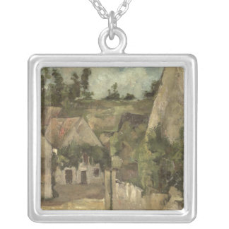 Crossroads at the Rue Remy, Auvers, c.1872 Silver Plated Necklace