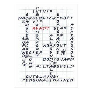 Crosswords Hund 3 Postkarte