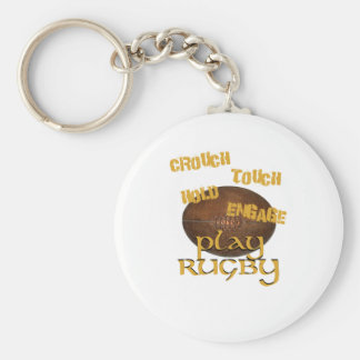 Crouch, Touch, Hold, Engage. . .Play Rugby Basic Round Button Key Ring