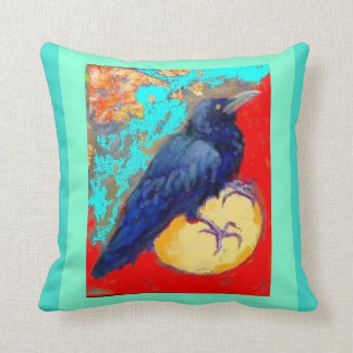 Crow and Egg by Sharles Throw Pillows