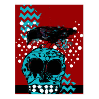 Crow and Skull Trash Polka Dive Funky Red Teal Postcard