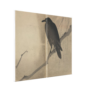 Crow Perched on Willow Branch Canvas Print
